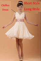 2014 Double-shoulder V-neck sexy chiffon new fashion formal party performnce prom dress