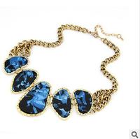 New design European retro fake collar chain necklaces for woman elegant colorful stones necklace