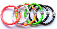 Free shipping 12pcs/lot of Leather Wrap Wristband Cuff Punk Magnetic Rhinestone Buckle double Bracelet Bangle mixed colour L13