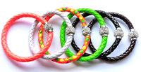 Free shipping 12pcs/lot of Leather Wrap Wristband Cuff Punk Magnetic Rhinestone Buckle double Bracelet Bangle mixed colour L13