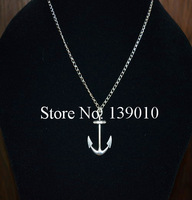 Free Shipping!6PCS/LOT!Hand-woven Silver Alloy Anchor Charm Chain Necklace Pendant Personlized Unisex Women Alloy Jewelry WJ-016