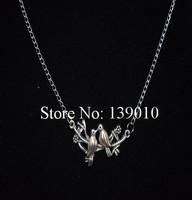 Free Shipping!6PCS/LOT!Wholesale Silver Alloy Peace Bird Wristband Charm Necklace Pendant Unique Unisex Custom Jewelry WJ-021