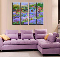 4 piece canvas wall art abstract decorative Purple lavender oil painting on canvas for home decoration living room decoration