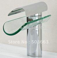Free Ship NEW Chrome Faucet Glass Waterfall  Bath Basin Sink Mixer tap CM0068 Mixer Tap Faucet