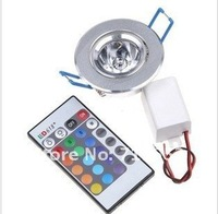 50PCS/Lot 3W 4WRGB LED Ceiling Light 16 Colors RGB LED light + Remote Control  85-265V free shipping