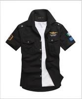 2014  summer Military leisure shirts  men's  shirt short sleeve cotton  army style  M-XXXL  (DC0059)