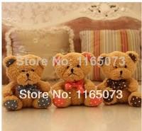 2014 Promotion Sale Freeshipping Gray Pink Brown Unisex Minions Pepa 18cm Tie Dot Teddy Bear Hug The Doll Plush Toys
