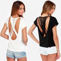 2014 new fashion sexy sling backs multi-strand cross solid round neck short bat sleeve knit crew neck T-shirt haoduoyi