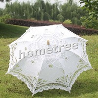 "25"" Fashion White Embroidered Lace Parasol Sun Umbrella Wedding Bridal Bride Birthday Party Decoration Free Shipping"