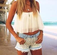 2015 Spring Summer Outfit - White Flowy Crop Top - Lace Shorts CHIFFON Hollow Yarn Shirt Crop TOP CS4203