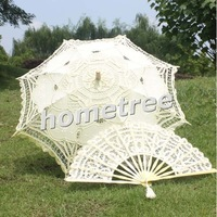 "25"" Ivory Embroidered Lace Parasol Sun Umbrella & Lace Fan Wedding Bridal Party Decoration Free Shipping"