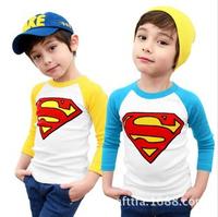 2014 fall clothes for boys.girl and boy full sleeve t shirt.boy super man long sleeve t shirt.girl super-man clothe