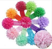 16color Baby Girls Headbands New 2014 Toddlers Kids Infants Crochet Hairband & Big Chiffon Headbands Children Accessories 10pcs