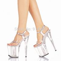 FREE SHIPPING 2014 LD-S1536 Sexy PVC With Rhinestone Buckle Strap 20CM High Sandal Wedding/Party/Dress/Nightclub/Crystal Shoes