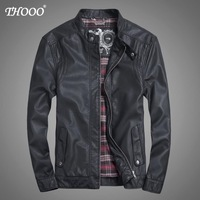 NEW THOOO Brand coat Faux Leather ew HOT GENTLEMEN'S classic fashion Slim Wholesale   pu leather motorcycle jacket tm09021