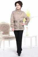 Middle-aged mother coat qiu dong coat jacket loose big yards tops the elderly Bust 118CM XL-XXXXL