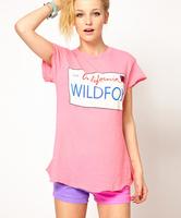 2014 women t-shirt WILDFOX California CA1997 tops Printed pink short-sleeved T-Shirt