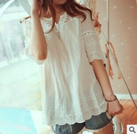 Sweet Style Lace Splicing Refreshing Style Short Sleeves V-Neck Blouse For Women In Summer New Fashion Embroidery Shirt