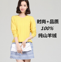 High quality women's 100 percent pure cashmere sweater o-neck sweater pullover twisted slim