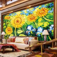 Fashion large mural oil painting flower tv background wall wallpaper ktv wallpaper sunflower