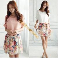 High Quality! 2014 New Women's Summer Dress Charming Crewneck Chiffon Short Sleeve Floral Casual Dress D25
