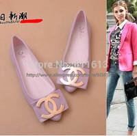 Free shipping flat shoes women flats plus size glitter metal pendant dress shoes bling bows ballerina shoes