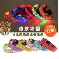 2014 Leopard Band Flashing Pet Collars Lighted Up Nylon LED Dog Collars Free Shipping