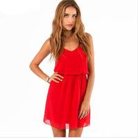 Free shipping 2014 summer new women dress solid double-strap chiffon dress