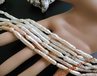 "HUGE 18""AAA Baroque long cylindrical toothpick white PEARL NECKLACE 14K"