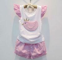 5sets/lot New Fashion Summer Lovely Little Bird Plaid Girls Set Girl Sleeveless Shirt / Tops + Plaid Shorts Children Garment