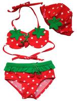 Free Shipping HOT kids swimwear 5pc/lot Lovely Strawberry hat+Two piece, kids girls Bikini wholesale cute Kid Swimsuit Costume