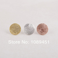 2014 New Arrival Fashion Brushed Circle stud Earrings Simple Tiny Stud color gold/silver/rose gold 30 pairs/lot Free Shipping