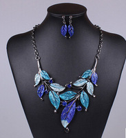 New 2014 Jewelry Set Classic Ethnic Blue Purple Colorful Vivid Animal Pendant Choker Neckalce & Drop Earrings For Women