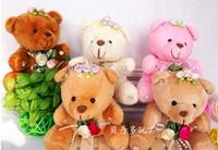 10CM FLOWER  Little MiNi Teddy Bear wedding bouquet accessories toy Bear Keychain