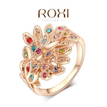 """Roxi элегантное женское кольцо """"Павлин"""" . ручная работа, изготовлено из розового золота с трех разовым золотым напылением, украшено россыпью разноцветных австрийских кристаллов, размеры 5-8"""