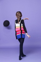 Free shipping 2014 autumn new girls striped knit vest children's clothing wholesale trade 7pcs/lot