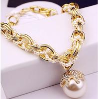 2014 Freeshipping Pendant Collar Necklace Necklaces Pendants 2pcs/lot Fashion J.c Japonica Big Pearl 2colors 53x5.5cm