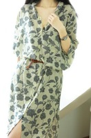 2014 New Cotton printing Loose long Casual retro Small fresh Sen female  Dress Shirts