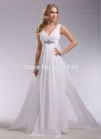 Free Shipping Elegant Chiffon V-neck Floor-Length Prom Dress Party Gown