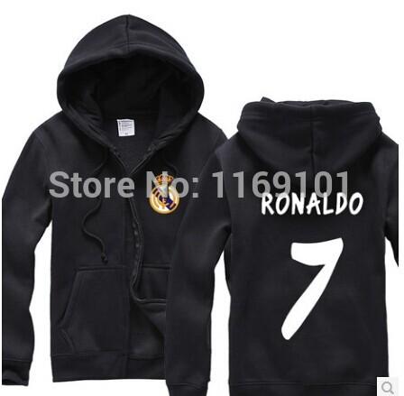 A+++ TOP SALE 2015 new Real Madrid C Ronaldo Cristiano Ronaldo fleece zip sweater jacket for men and women(China (Mainland))