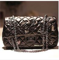 2014 Fashion women leather handbag classics plaid metal women's chain messenger bags shoulder bag L1049