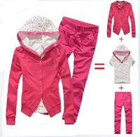 Original Brand N*K* Women's Hoodies + T Shirt + Pants 3 Pcs Set Sport Suits Sweatshirt Sets Tracksuits Set