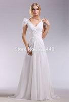 New Arrival Beautiful V-Neck Beaded Chiffon Evening Prom Dress Custom Size Free Shipping