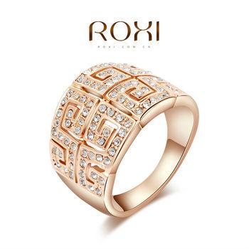 Roxi элегантное массивное женское кольцо ручной работы, изготовлено из розового золота с трех разовым золотым напылением, украшено россыпью австрийских кристаллов, интересный дизайн, 100% качество, размеры 6-8