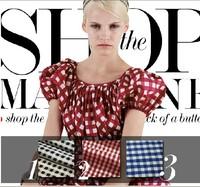 MARC 100%pure silk fabric check print silk cloth light summer fabrics blue black red 50g/meter