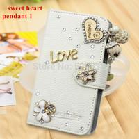 Free USB Diamond Dust plug Bling Diamond Crystal Rhinestone Flip PU Leather Wallet Folio case for LG Optimus G E970
