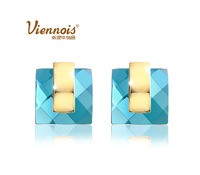 New top quality gold plated  blue soul crystal square Geometric party Valentine's gift fashion stud earrings (Viennois VE00691)