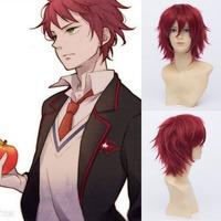 Qiyun Takakura Kanba Mawaru-Penguindrum Short Straight Wine Red Cosplay Anime Wig Peluca Perucke Perruque