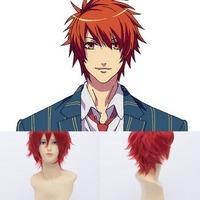 Qiyun Ittoki Otoya  Short Straight Bright Red Unisex Cosplay Anime Costume Wig Peluca Perucke Perruque