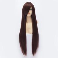 Qiyun Universal Long Straight Reddish Brown Cosplay Anime Costume Wig For Women Peluca Perucke Perruque